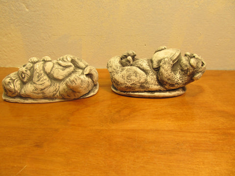 Two Mount St. Helen Volcanic Ash Figurines of Otters