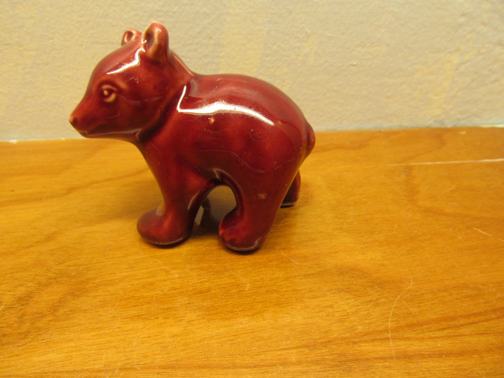 Small Porcelain Bear Figurine Red in Color