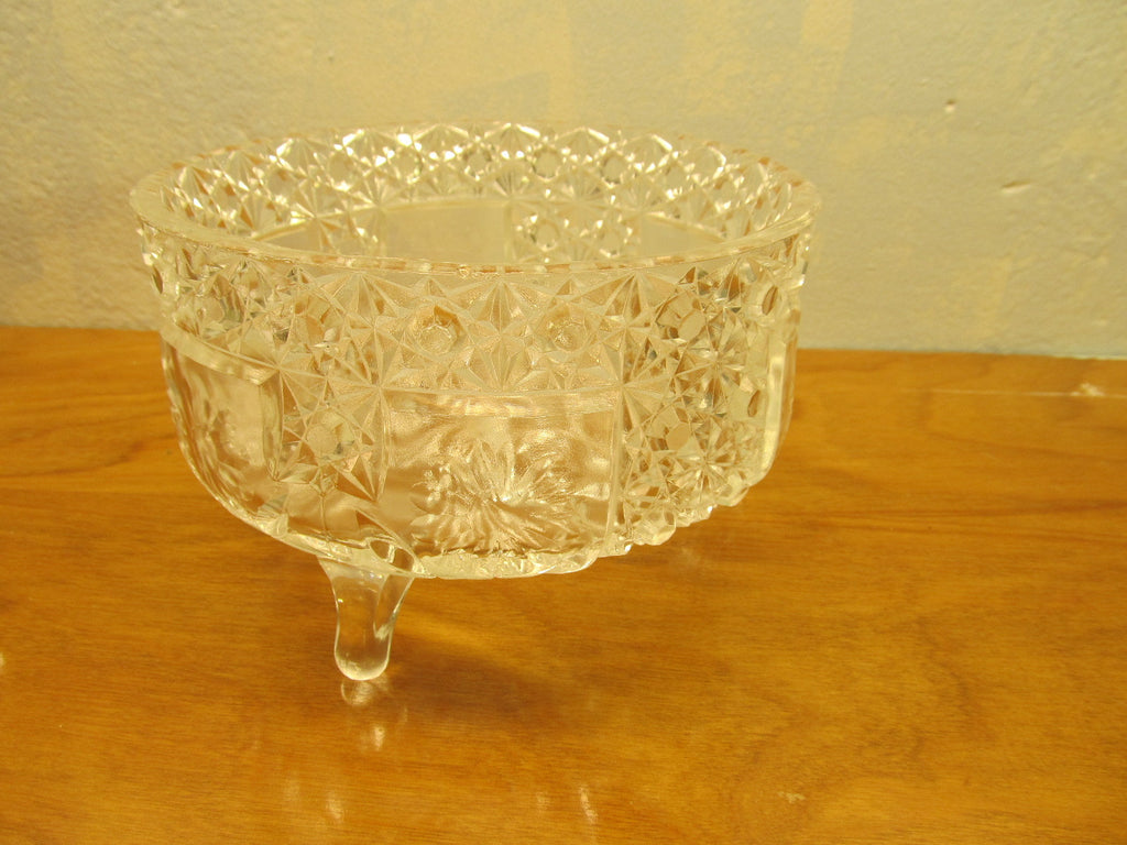 VINTAGE THREE FOOTED CRYSTAL BOWL WITH GLASS LADLE - Andres James Vintage Boutique - 1