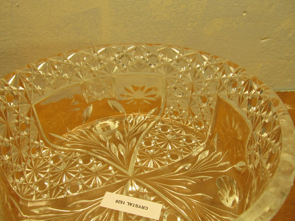 VINTAGE THREE FOOTED CRYSTAL BOWL WITH GLASS LADLE - Andres James Vintage Boutique - 2