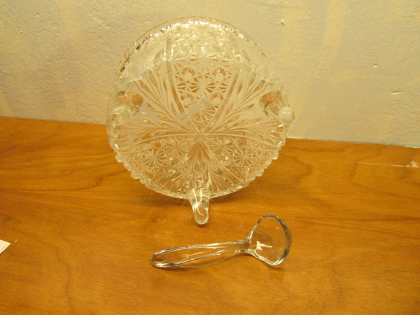 VINTAGE THREE FOOTED CRYSTAL BOWL WITH GLASS LADLE - Andres James Vintage Boutique - 4