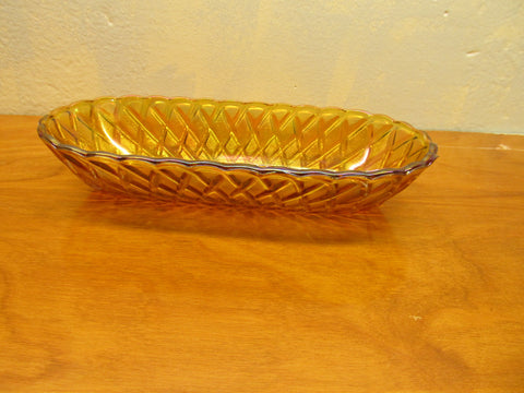 VINTAGE AMBER GLASS RELISH DISH - Andres James Vintage Boutique - 1
