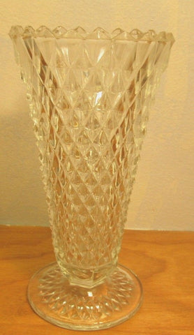 small vintage cut crystal vase diamond shaped design