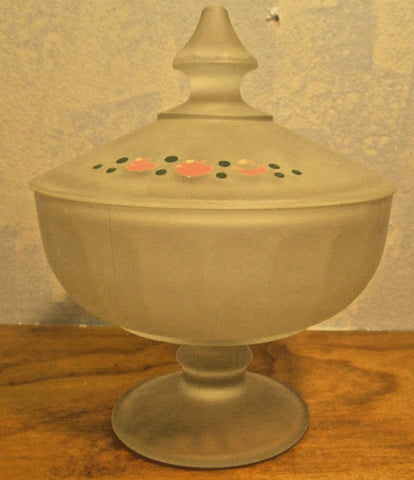 frosted glass candy dish with painted fruit