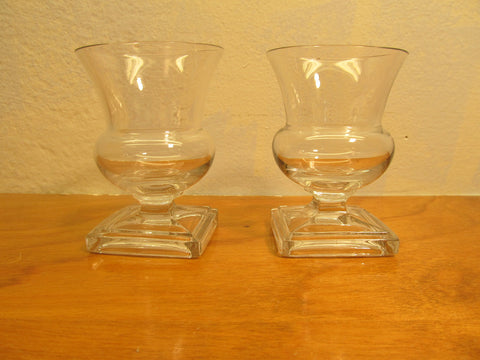 Two (2) Small Candle Holders Clear Glass - Andres James Vintage Boutique