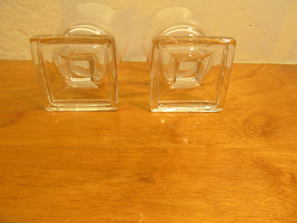 Two (2) Small Candle Holders Clear Glass