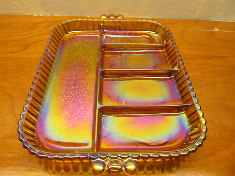 VINTAGE AMBER CARNIVAL CELERY AND VEGGIE TRAY - Andres James Vintage Boutique - 1