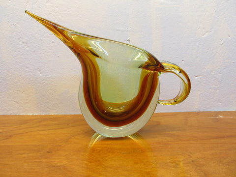 MULTI-COLORED ART DECO GLASS PITCHER - Andres James Vintage Boutique
