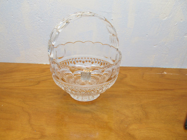 CRYSTAL FLOWER BASKET MADE IN POLAND - Andres James Vintage Boutique