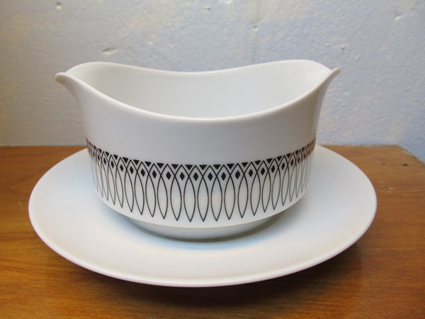 HARMONY HOUSE PARTIAL CHINA SET WHITE WITH BLACK EDGING # 3908 - Andres James Vintage Boutique