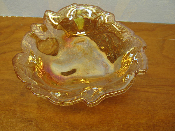 VINTAGE FENTON AMBER BERRY BOWL - Andres James Vintage Boutique - 1