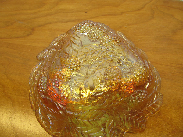 VINTAGE FENTON AMBER BERRY BOWL - Andres James Vintage Boutique - 3