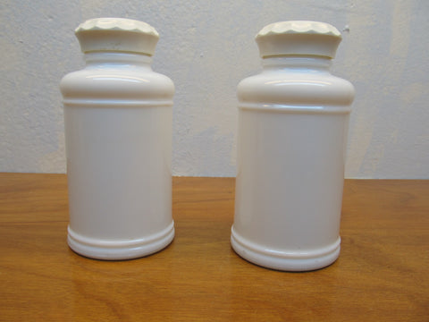 SET OF VINTAGE MILK GLASS APOTHECARY BOTTLES WITH LIDS - Andres James Vintage Boutique - 1