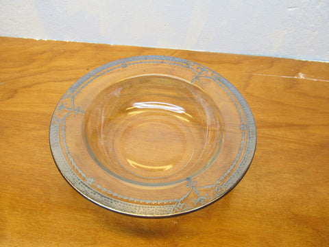 VINTAGE GLASS SERVING BOWL  WITH SILVER ORNATE RIM - Andres James Vintage Boutique - 1