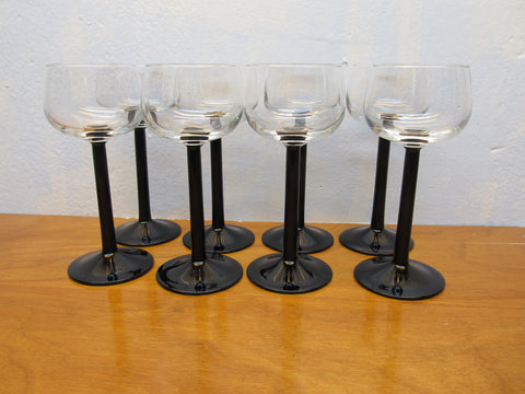 SET OF EIGHT CLEAR WITH BLACK STEMS GOBLETS MADE IN FRANCE - Andres James Vintage Boutique