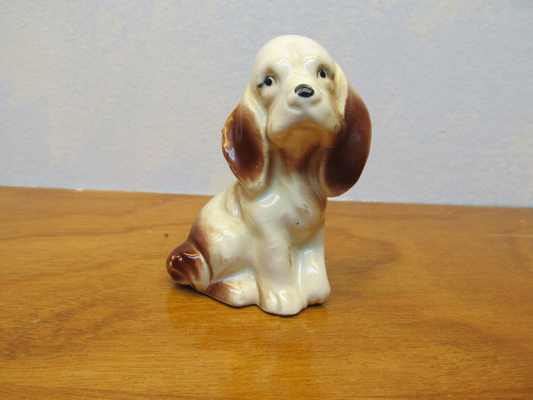VINTAGE BROWN AND WHITE SMALL DOG FIGURINE - Andres James Vintage Boutique - 1
