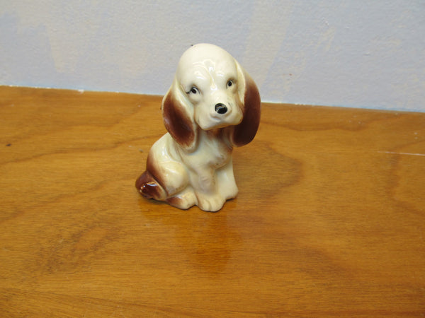 VINTAGE BROWN AND WHITE SMALL DOG FIGURINE - Andres James Vintage Boutique - 3