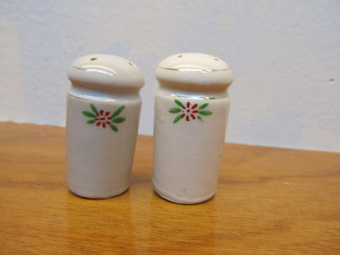 SMALL VINTAGE SALT AND PEPPER SHAKERS CERAMIC WHITE WITH CORK PLUGS - Andres James Vintage Boutique - 1