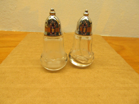 SMALL VINTAGE SALT AND PEPPER SHAKERS WITH SILVER LIDS - Andres James Vintage Boutique - 1