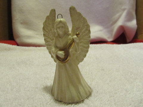 VINTAGE CERAMIC WHITE ANGEL PLAYING A MUSICAL INSTRUMENT - Andres James Vintage Boutique - 1