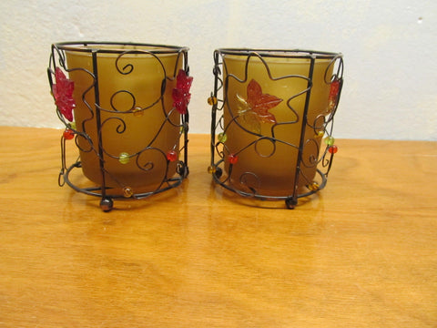 AMBER CANDLE HOLDER IN WIRE BASKET WITH MULIT-COLORED BEADS SET OF TWO - Andres James Vintage Boutique
