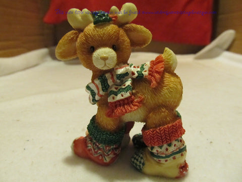 "ENESCO 1994 SANTA'S SPECIAL DEERLIVERLY  SERIES. ""SOCKS"" # 5648NP946 - Andres James Vintage Boutique"