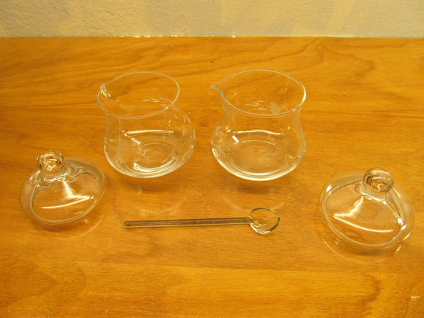 VINTAGE CONDIMENT POTS WITH ETCHED WHEAT DESIGN - Andres James Vintage Boutique - 1