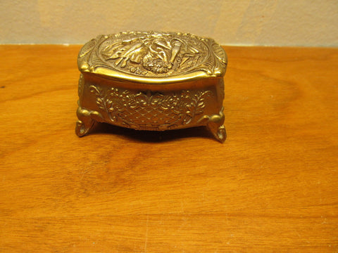 ANTIQUE METAL TRINKET BOX MADE IN JAPAN WITH A MAN AND WOMAN CARVING ON TOP - Andres James Vintage Boutique