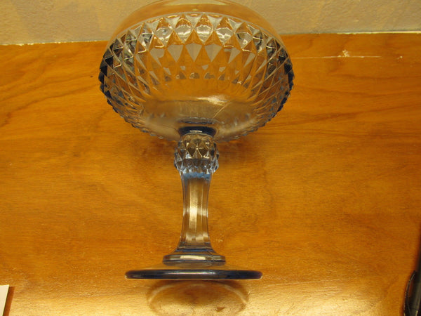 VINTAGE LIGHT BLUE DIAMOND SHAPE PATTERN COMPOTE DISH - Andres James Vintage Boutique - 2