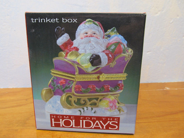 PORCELAIN SANTA TRINKET BOX MADE IN CHINA - Andres James Vintage Boutique