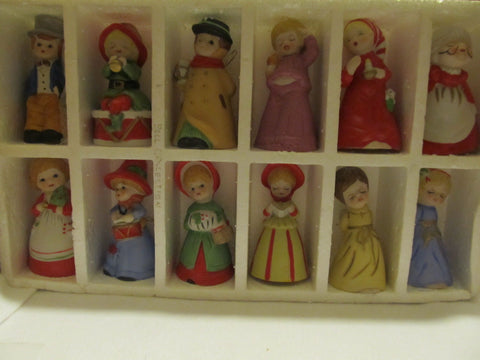 VINTAGE SET OF TWELVE BISQUE PORCELAIN CAROLER BELLS - Andres James Vintage Boutique - 1