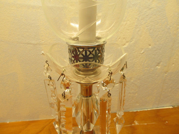 SMALL VINTAGE CRYSTAL TABLE LAMP - Andres James Vintage Boutique - 4