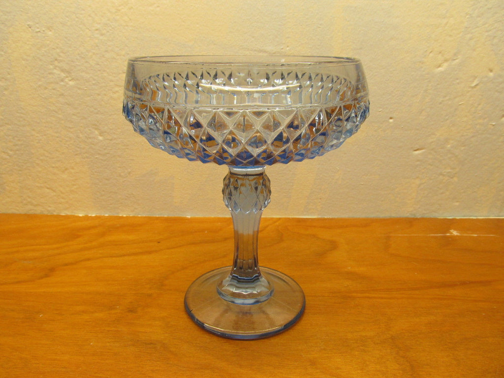 VINTAGE LIGHT BLUE DIAMOND SHAPE PATTERN COMPOTE DISH - Andres James Vintage Boutique - 1