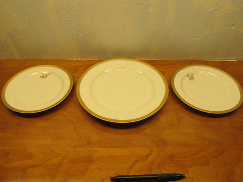 ROSENTHAL CHINA ONE (1) DINNER PLATE AND TWO (2) SALAD OR DESERT PLATES WITH GOLD TRIM - Andres James Vintage Boutique