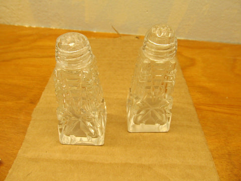 VINTAGE PRESSED GLASS SALT AND PEPPER SHAKERS WITH GLASS LIDS - Andres James Vintage Boutique - 1