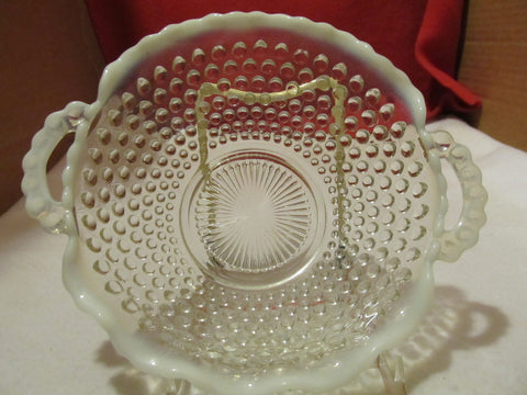 VINTAGE MOONSTONE BY ANCHOR HOCKING 6 1/2 INCH CRIMPED BOWL WITH HANDLE - Andres James Vintage Boutique - 1