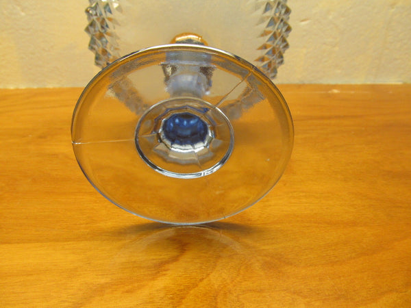 VINTAGE LIGHT BLUE DIAMOND SHAPE PATTERN COMPOTE DISH - Andres James Vintage Boutique - 3
