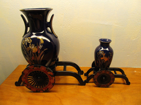 TWO ORIENTAL STYLE VASES ON CARTS WITH IRIS DESIGN ONE LARGE ONE SMALL - Andres James Vintage Boutique - 1