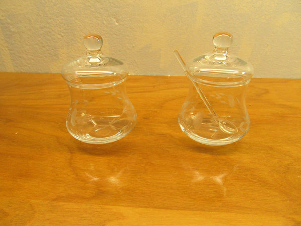 VINTAGE CONDIMENT POTS WITH ETCHED WHEAT DESIGN - Andres James Vintage Boutique - 3