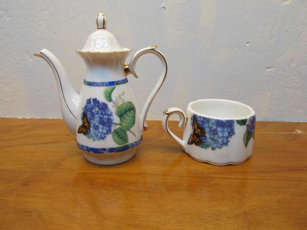 VINTAGE PORCELAIN TEA POT AND CUP - Andres James Vintage Boutique - 1