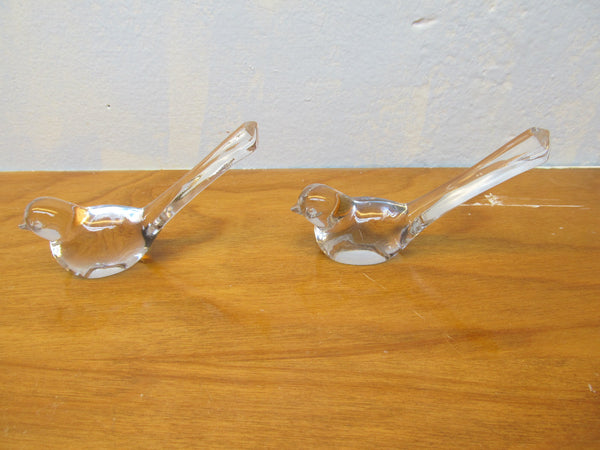 TWO BEAUTIFUL CLEAR GLASS BIRD FIGURINES - Andres James Vintage Boutique - 3
