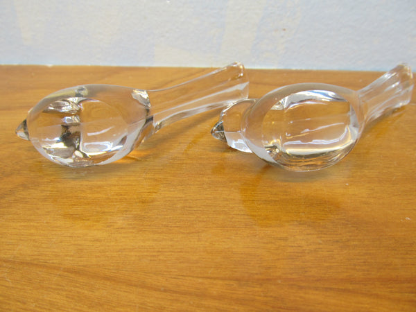 TWO BEAUTIFUL CLEAR GLASS BIRD FIGURINES - Andres James Vintage Boutique - 4