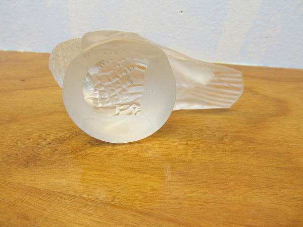 FROSTED AND CLEAR GLASS BIRD FIGURINE - Andres James Vintage Boutique
