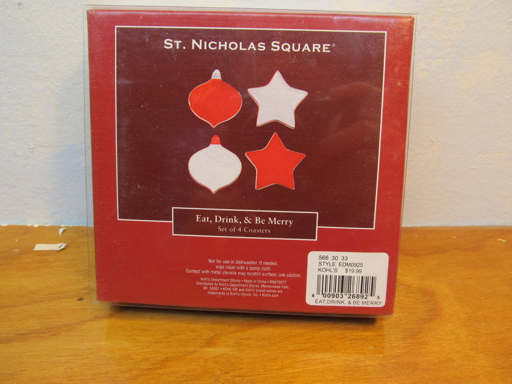 SET OF FOUR METAL HOLIDAY COASTER BY ST. NICHOLAS SQUARE - Andres James Vintage Boutique
