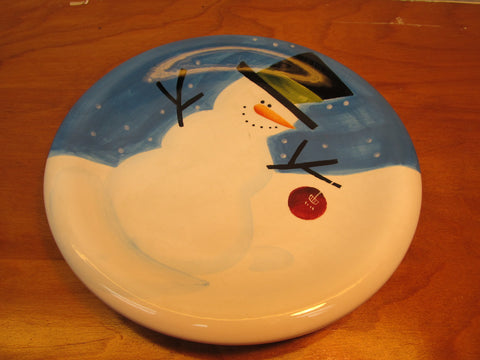 CHERRY SNOWMAN PLATE MADE IN CHINA BY SAKURA - Andres James Vintage Boutique