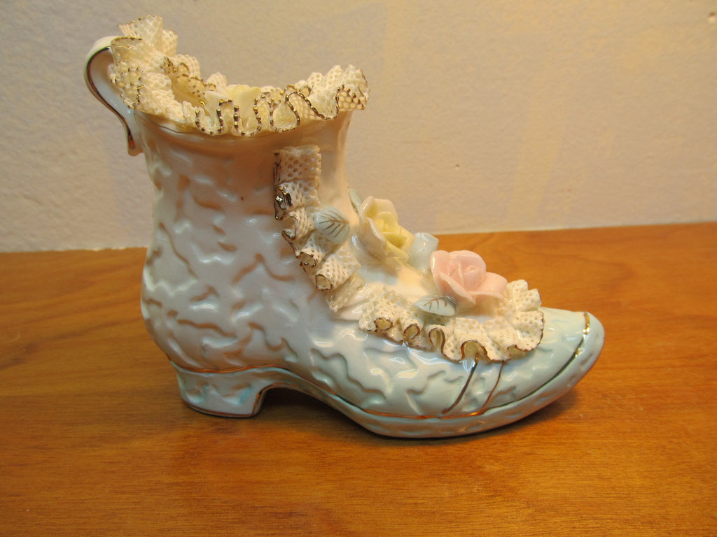 BEAUTIFUL PORCELAIN LADYS' SHOE WITH LACE MADE IN JAPAN - Andres James Vintage Boutique