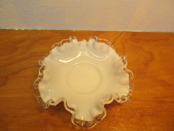 VINTAGE FENTON SMALL WHITE RUFFLED TOP CANDY DISH
