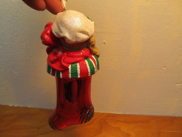 PUPPY IN RED SOCK GLASS ORNAMENT MADE IN TAIWAN STILL IN BOX - Andres James Vintage Boutique