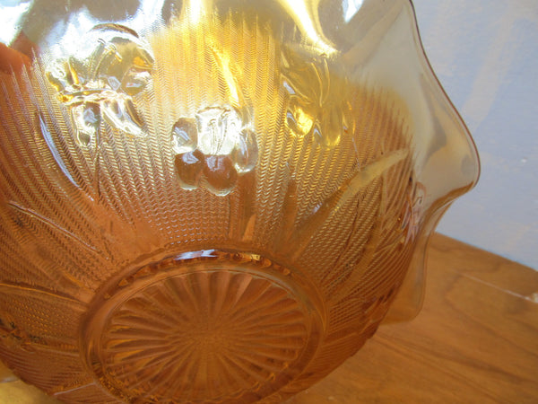 VINTAGE INDIANA GLASS 12 INCH DIAMETER IRIS PATTERN BOWL