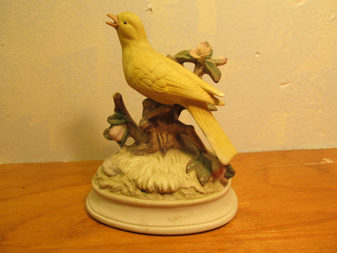 CUTE VINTAGE YELLOW BIRD SITTING ON A BRANCH MUSIC BOX MADE IN JAPAN